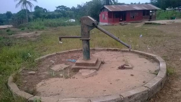Abandoned hand pump in Sinje community on the Gola Konneh Road, Cape Mount