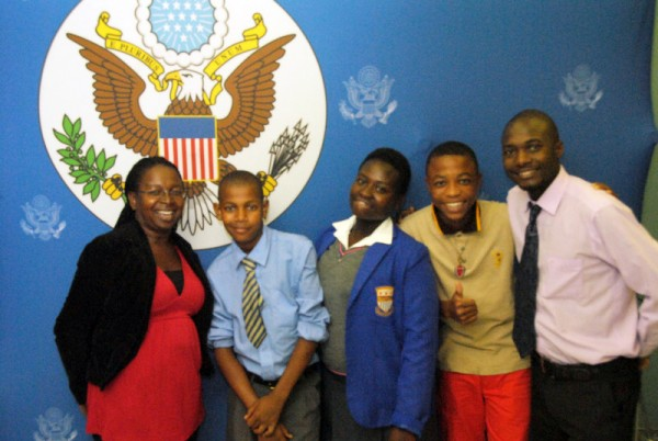 From Left: Sibongile Mbanje; Joseph Lansburg; Rufaro Kabasa and Brian Sibanda, with Thando Sibanda, youth coordinator at the U.S. Embassy.