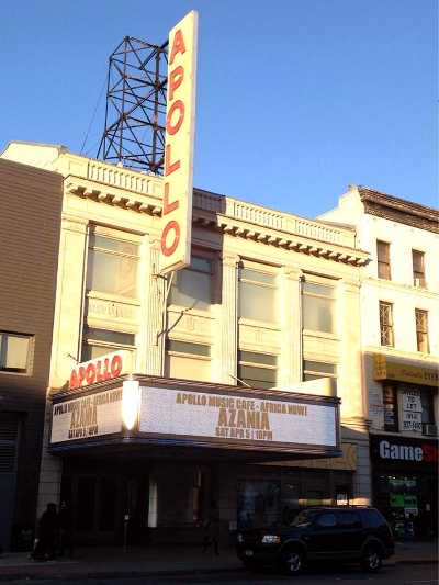 Azania's performance announcement on Apollo Theatre's Marquee in Harlem, New York