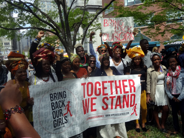 Protesters rallied Saturday at Union Square Park in New York City to urge Nigerian government to rescue more than 200 abducted girls