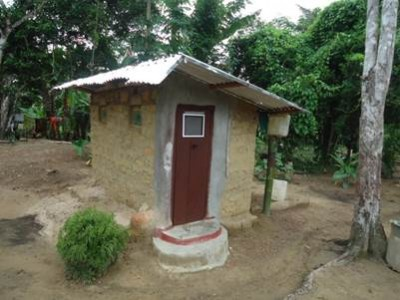 One of the latrines constructed by Kangar Town residents, as part of efforts to reach ODF status