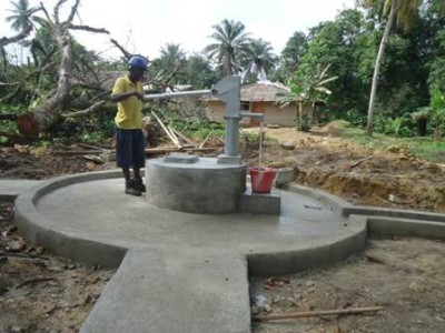 Completed/new Hand Pump in Kwenkor, Gola Konneh District in Cape Mount