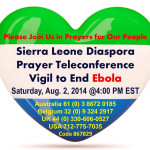 Sierra Leone Diaspora Prayer Teleconference Vigil to end Ebola set for Saturday