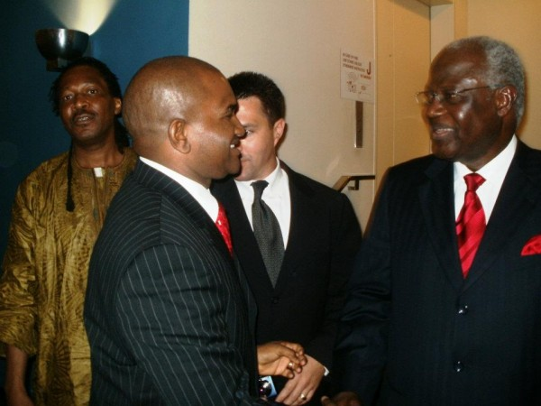 President Ernest Koroma (far right) greets Sierra Leoneans after his 66th. UNGA General Debate speech at the UN Headquarters in New York