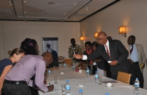 Exchanging cards with participants after the discussion