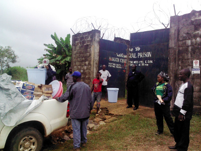 Offloading of donated items to the Kakata Central Prison by Living Water International