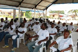 Participants at Global Hand Washing 2014 celebration in Monrovia, Liberia
