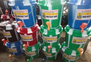 "Hand washing buckets as part of ""WASH Ebola Away Strategy/Campaign"""