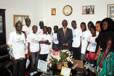 Deputy Speaker Hans Barchue and Cross section of Children and some civil society actors