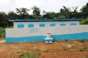 Toilet facility in Gonelor, Tewor District, Grand Cape Mount County