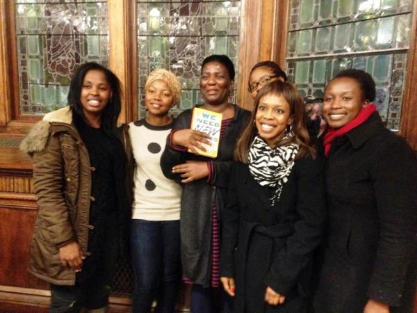 Photo Credit: Arao Ameny. No Violet Bulawayo - second from left, Arao Ameny far right pose with CCNY's faculty, students and members of the community after Thursday's lecture.