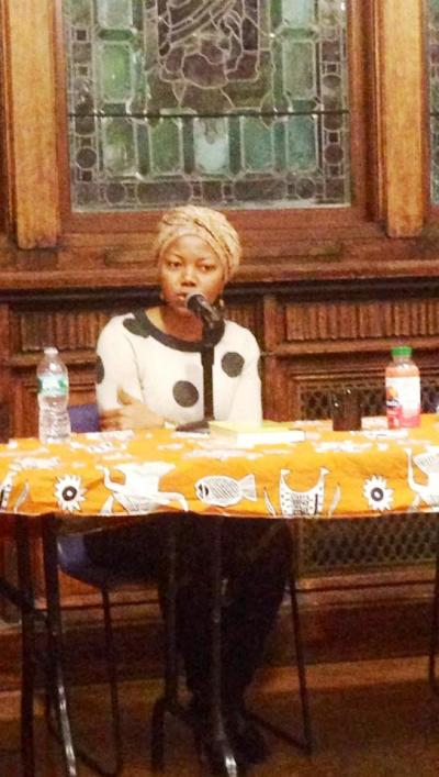 Photo Credit: Arao Ameny.  Author No Violet Bulawayo delivers the conclusion of Fall 2014 Chinua Achebe Legacy Series lecture in Sheppard Hall at City College, New York