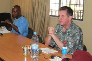(L-R) Chairman of ACT-Alliance Liberia Forum, Allen Lincoln, and Manager of Global Program Coordinator for Disaster Management of ICCO Cooperation, Evert Bodegom