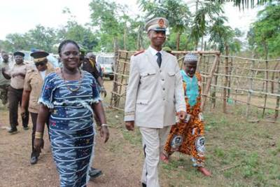 Inspecting the Border, Bong County Superintendent Serena Mappy (L) and Guinea Counterpart, Mustapha Condi ( R)