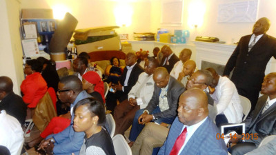 APC North America Chapter executives listen to President Koroma's address in Washington