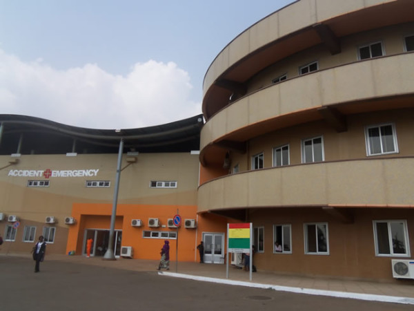 Front view of the Accident and Emergency Center, Komfo      Anokye Teaching Hospital