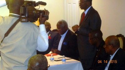 President Ernest B. Koroma seated second from left