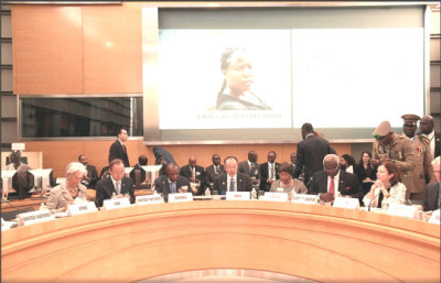Sierra Leonean President Ernest Bai Koroma - third from right - participates in Ebola Recovery Plans High-level Roundtable