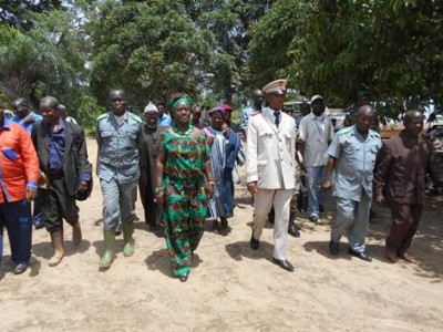 Bong County Superintendent, Selena P. Mappy and Yomou Prefecture Prefect, Moustapha Forowe Conole enter the second cross-border meeting held between Bong and Yomou Counties to di