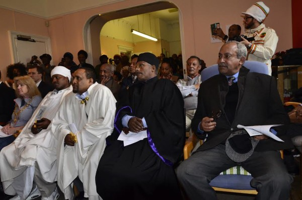 Distinguished guests including Prince Michael Mekonnen, the grandson of Emperor Haile Selassie at Roots Ethiopian Photo Exhibition at Fairfield House in Bath, England