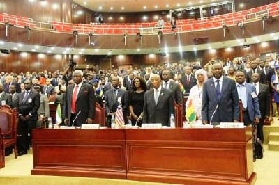 President Ernest Koroma -front row from left-attends African Union International Ebola Conference in Malabo, Equatorial Guinea