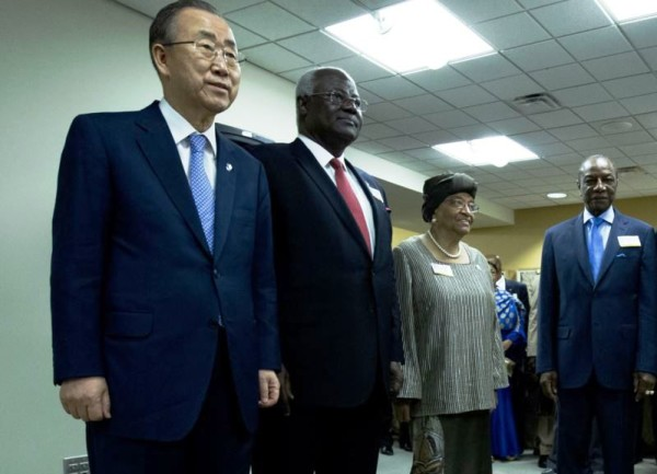 President Koroma attends Ebola Recovery Conference - From left to right-Ban Ki moon-UN Secretary General, President Ernest Bai Koroma, President Ellen Johnson-Sirleaf and President Alph Conde