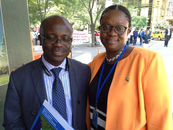 Mustapha Wai and Sylvia Blyden at a protest and counter-protest rally against and for President Koroma by CSLUSA and Sierra Leoneans for Peace during UN International Ebola Conference in New York. Photo credit -Sylvia Blyden.jpg