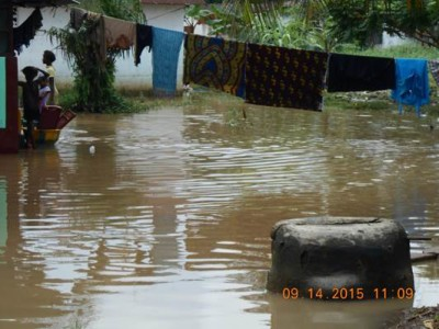 A well in the midst of flood Water in Zayzay Community, Paynesville