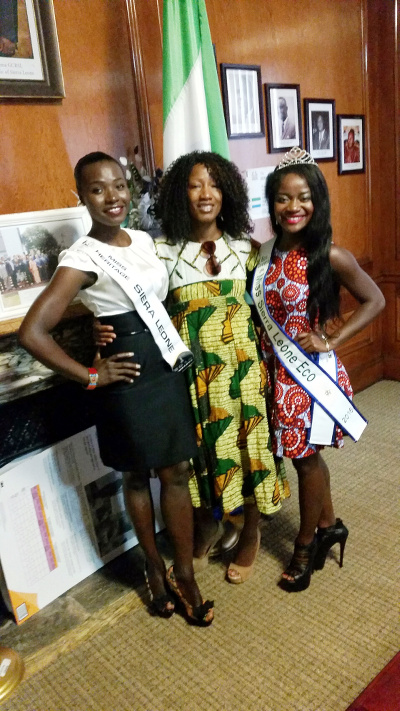 From right to left Ruby B. Johnson, Dr. Fuambai Sia Ahmadu and Ms. Ramzhain Suma, former Miss Sierra Leone Heritage