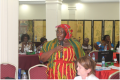 Rural Women of Liberia Montserrado County Chapter, Korpu Howard makes remarks at the Meeting