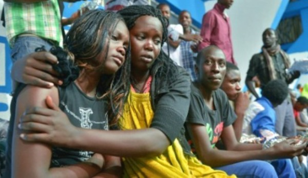 Victims of the Garissa University attack in Kenya consoling each other