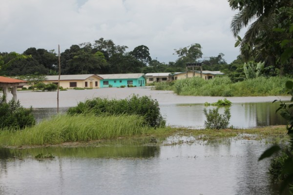 View of the Baptist Compound in Bo Waterside, overtake by flood