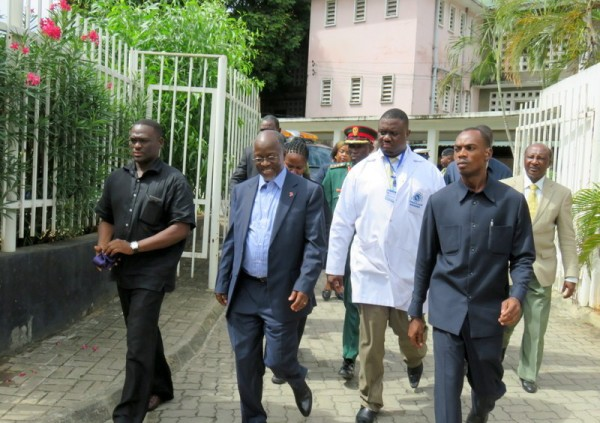 President John Magufuli (second left) arriving at the Muhimbili National Hospital to have a view of the happenings.