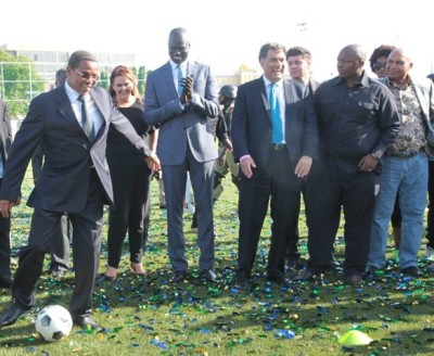President Jakaya Kikwete (now retired) during the opening of the sports ground