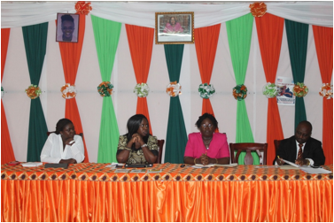 High Table from Left to right: Brenda Muturi-Pan African Gender Justice, Janah Ncub-Pan African Programme Director, Parleh Harris-Gender Ministry Director of Women Empowerment, & AU Representative-Prosper Addo