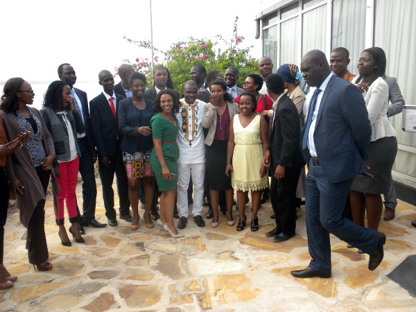 Some participants pose for a group photo after the conference