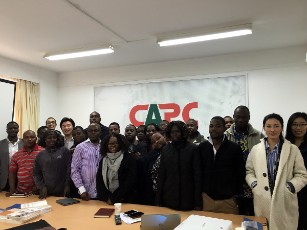 Visiting journalists at their hosting office of the China Africa Press Centre in Beijing