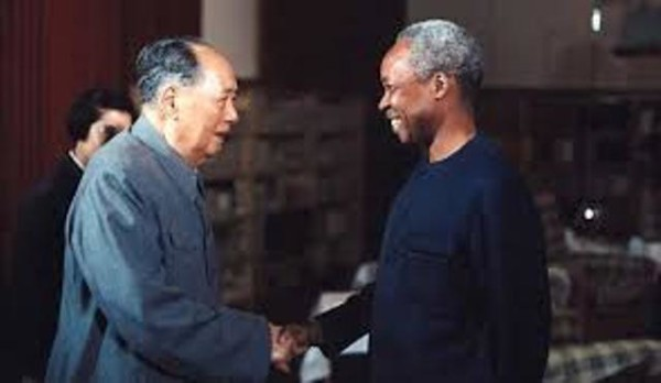 Chairman Mao-Tse Tung of the Chinese Communist Party sharing a light moment with this counterpart Mwalimu Julius Nyerere then Tanzania's president