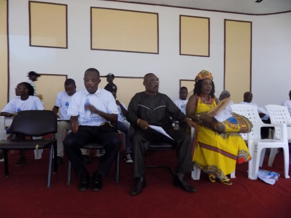 Sinoe County Superintendent, T. Romeo Quioh and other officials at the Program