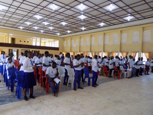 View of students at indoor program on World Water Day 2016, Greenville, Sinoe