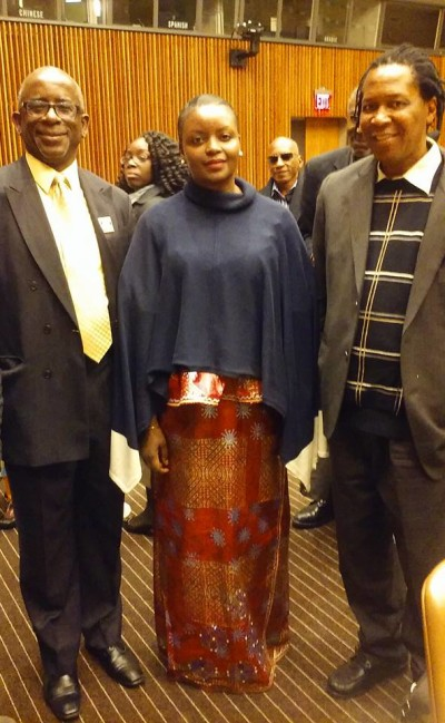 Hon. Isata Kabia-center, Sierra Leone's Acting Minister of Social Welfare, Gender and Children's Affairs poses with Melbourne Garber (left)Sierra Leonean Engineer of the Ark of Return a United Nations Permanent Memorial