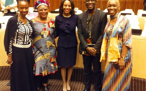 Ms Shorna Kay-Richards, Charge d'Affairs of Permanent Mission of Jamaica to the UN poses with leaders of UN African Non-Governmental Organizations in the ECOSOC Chamber