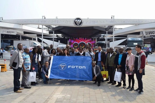 A team of journalists when they visited the Foton Pavilion