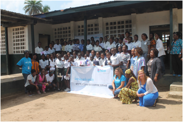 Group photo with students, Staff from UNICEF, Ministry Education and Liberia WASH Consortium