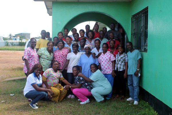 Health Workers at the end of the workshop and a staff of Shalom, Lusu Gibson (L)