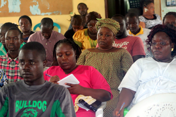 Health workers listening attentively during one of the training sessions