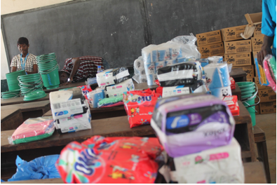 Some of the items that were provided the girls during the celebration of the MHD