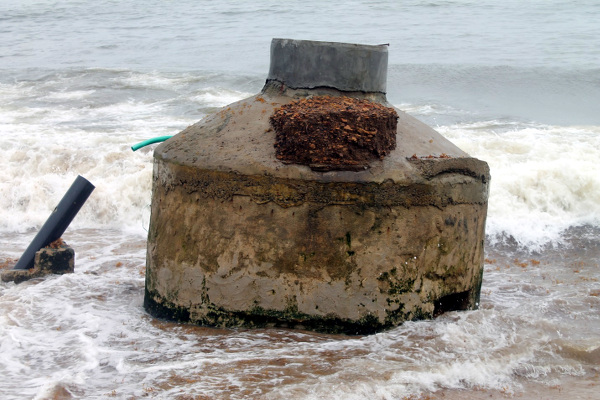 Concrete Septic Tank used for sanitation project, now destroyed by the sea
