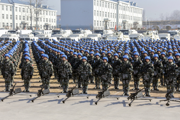 It is the preparatory ceremony of China's peacekeeping infantry battalion to South Sudan. On December 22, 2014, China started to dispatch a peacekeeping infantry battalion to South Sudan.