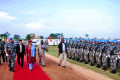 Liberian President Ellen Johnson Sirleaf visiting Chinese peacekeepers. The contribution of China's peacekeeping troops in Liberia has won high praise from Liberian government and its people.